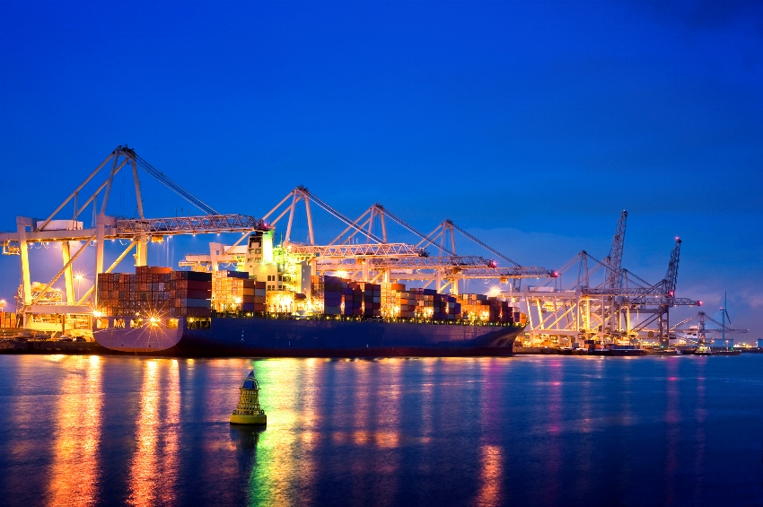 port container ship night