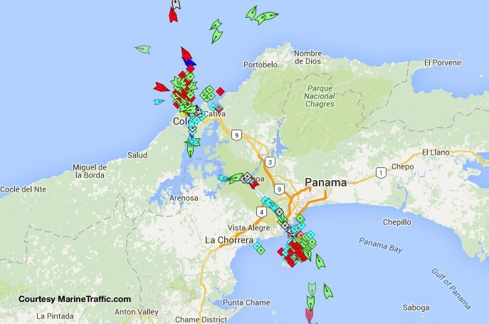 panama canal ship positions